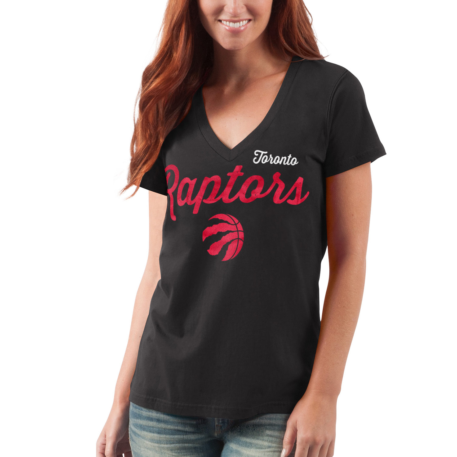 Toronto Raptors G-III 4Her by Carl Banks Women's Post Season V-Neck Short Sleeve T-Shirt - Black