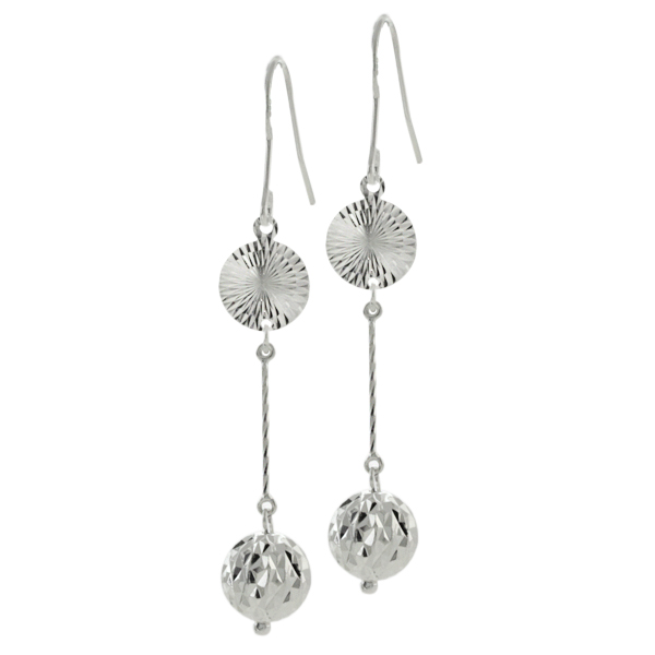 "2.5"" Stunning Sterling Silver Diamond Cut Dome Balls Dangle Earrings 2.5 Inch"