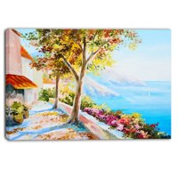 Design Art House and Sea in the Fall Landscape Painting Print on Wrapped Canvas