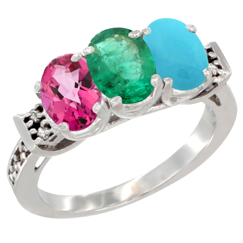 14K White Gold Natural Pink Topaz, Emerald & Turquoise Ring 3-Stone Oval 7x5 mm Diamond Accent, sizes 5 10 by WorldJewels