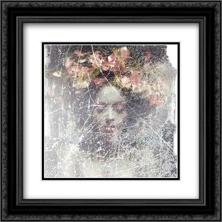 Flower Crown 2x Matted 20x20 Black Ornate Framed Art Print by - Black Flower Crown