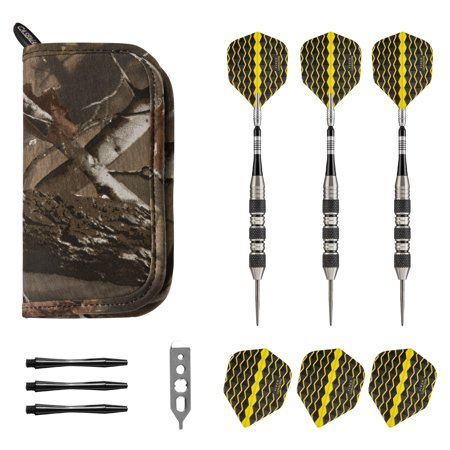 Viper Fan - Viper The Freak Steel Tip Darts Knurled and Shark Fin Barrel 22 Grams and Casemaster Realtree Hardwoods Deluxe Camouflage Dart Case