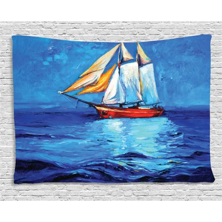 Ship Tapestry, Oil Painting Style Sailship Frigate Floating on the Sea Modern Impressionism Artwork, Wall Hanging for Bedroom Living Room Dorm Decor, 60W X 40L Inches, Multicolor, by Ambesonne