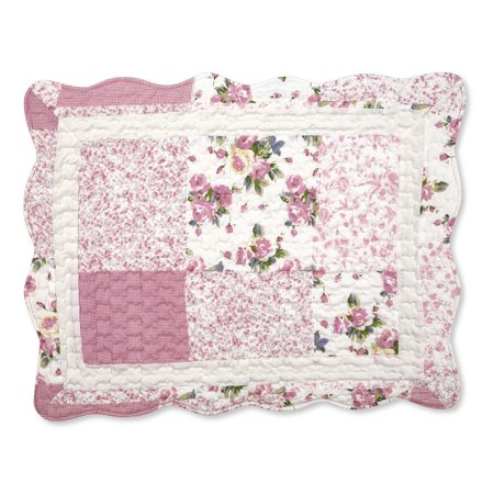 Hotel Collection Quilted Sham - Hadley Floral Patchwork Quilted Pillow Sham, Sham, Rose