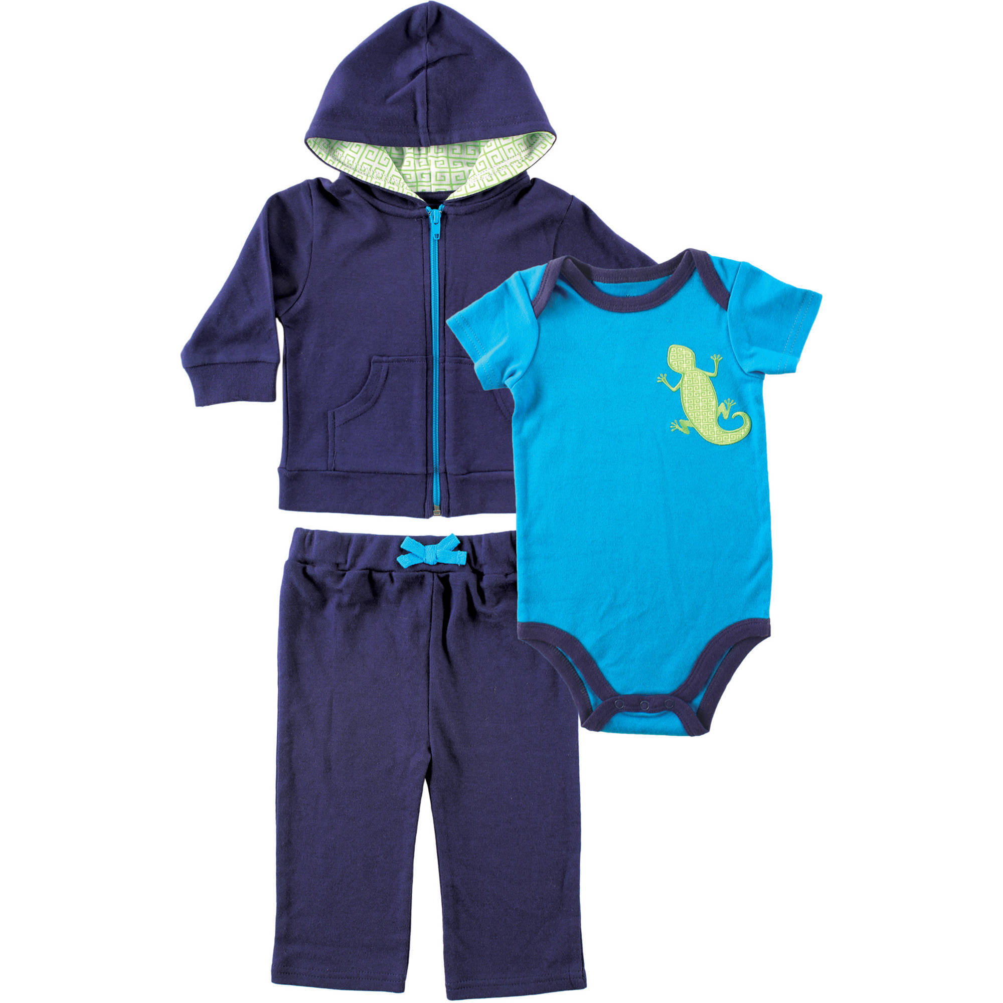 Yoga Sprout Newborn Baby Boys Lizard Hoodie, Bodysuit & Pants Set