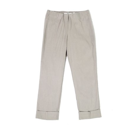 Ilusion Womens Cuffed Pull On Straight Cropped Pants