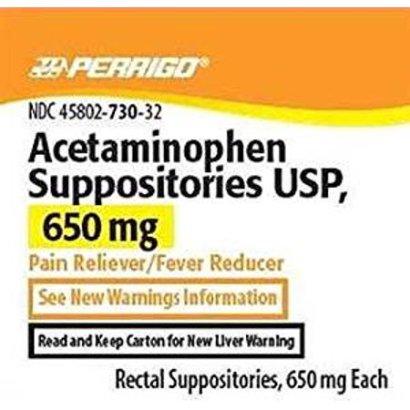 Perrigo Acetaminophen Rectal Suppositories, 650mg, 12