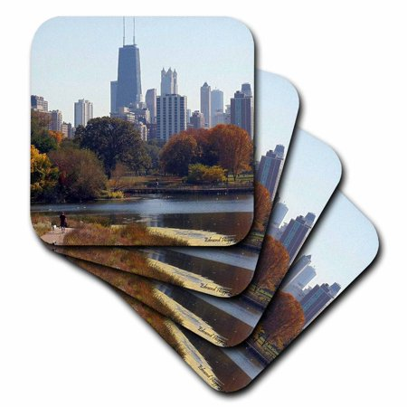 3dRose Chicago In The Fall, Ceramic Tile Coasters, set of 8