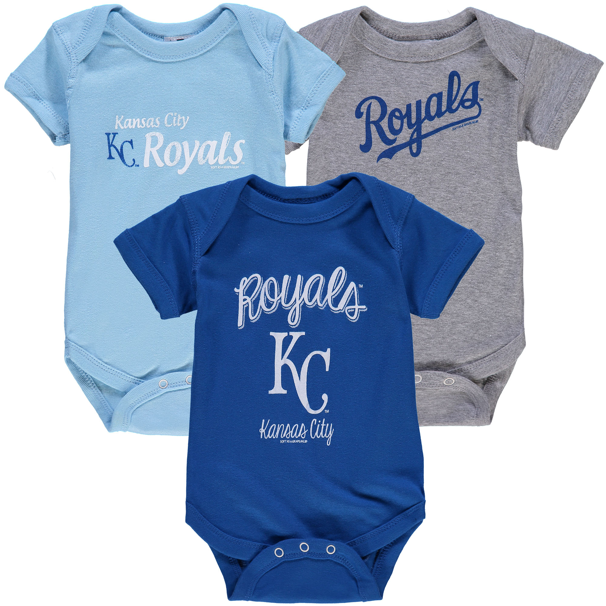 Kansas City Royals Soft as a Grape Infant 3-Pack Rookie Bodysuit Set - Royal/Light Blue/Gray