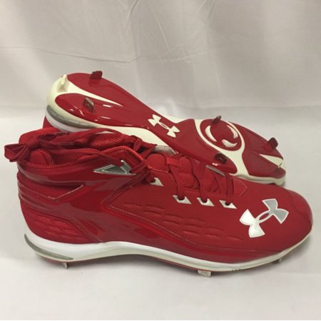 NEW Mens Under Armour Yard II 5/8 Pro ST Baseball Cleats Red / White Sz 15 M](Baseball Clearance Outlet)