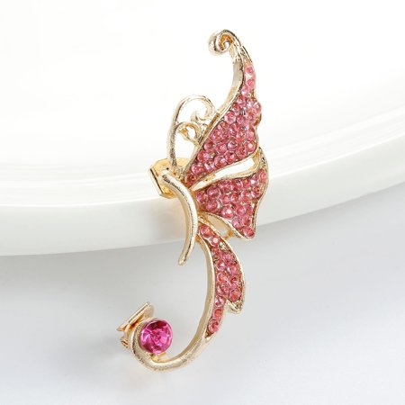 SEXY SPARKLES Ear Cuff Clip On Stud Wrap Earrings For Left Ear Butterfly Gold Plated W/Fuchsia Rhinestone