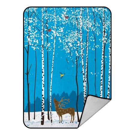 YKCG Home Bathroom Christmas White Snow Winter Squirrel Deer Bird Bullfinches Animal Rabbits Blanket Crystal Velvet Front and Lambswool Sherpa Fleece Back Throw Blanket 58x80inches ()