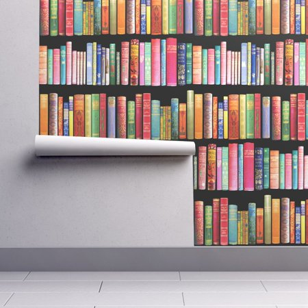 Removable Water-Activated Wallpaper Vintage Library Book Books Victorian Antique ()