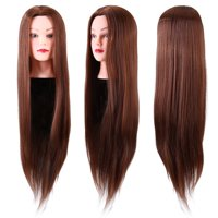 """Synthetic Fiber Hair 24"""" Mannequin Head Hairdresser Training Head Manikin Cosmetology Doll Head with Table Clamp Holder"""