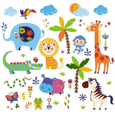 Crazy Jungle Nursery/Kids Room Peel & Stick Wall Decals