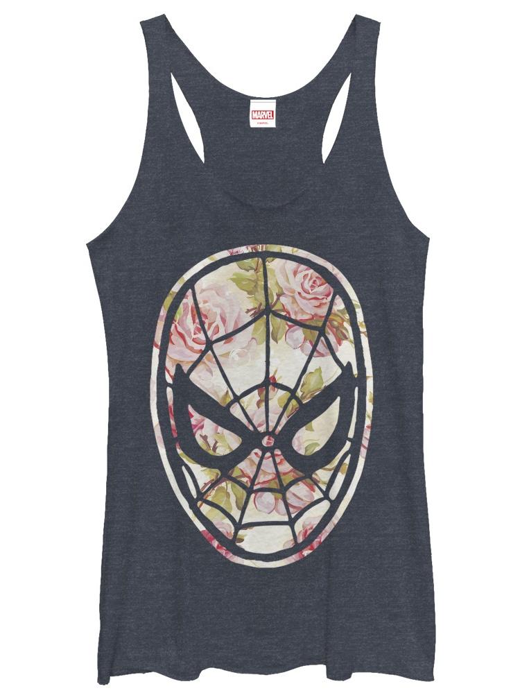 Marvel Women's Spider-Man Floral Print Racerback Tank Top
