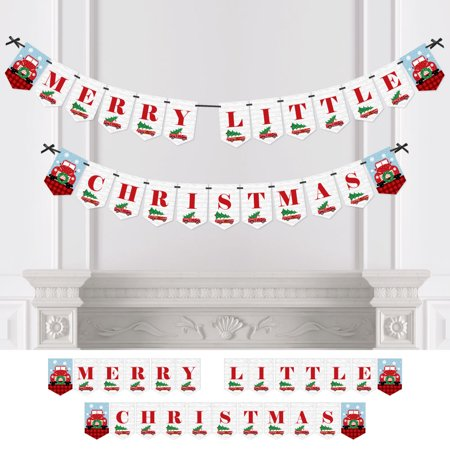 Merry Little Christmas Tree - Red Truck & Car Christmas Party Bunting Banner - Party Decoration - Merry Little Christmas (Merry Christmas Glitter Banner)