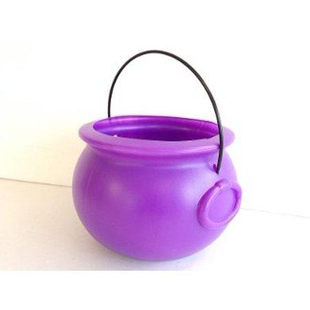 Cauldron 8 Inch Plastic Purple Pkg/1, 6 tall and 7 1/4 wide By - Plastic Cauldrons