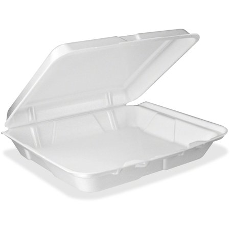 Dart 95HT1, 9x9x3-Inch Performer White Single Compartment Foam Container With A Hinged Lid, Carryout Food Disposable Containers (100)