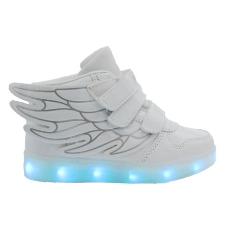 Galaxy LED Shoes Light Up USB Charging High Top Wings Kids Sneakers (White) - Spiderman Light Up Sneakers