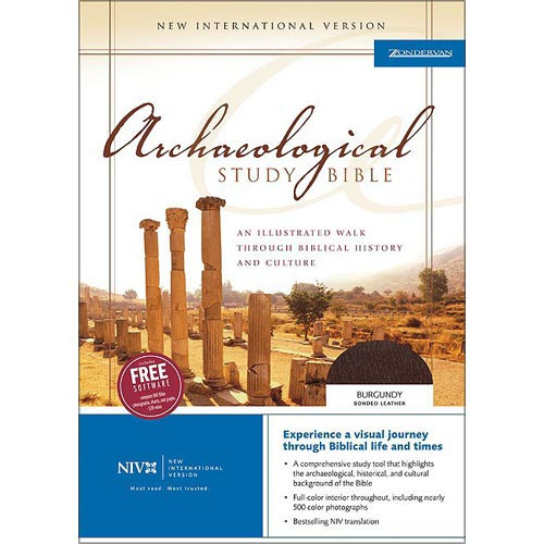 Archaeological Study Bible: Burgundy Bonded Leather