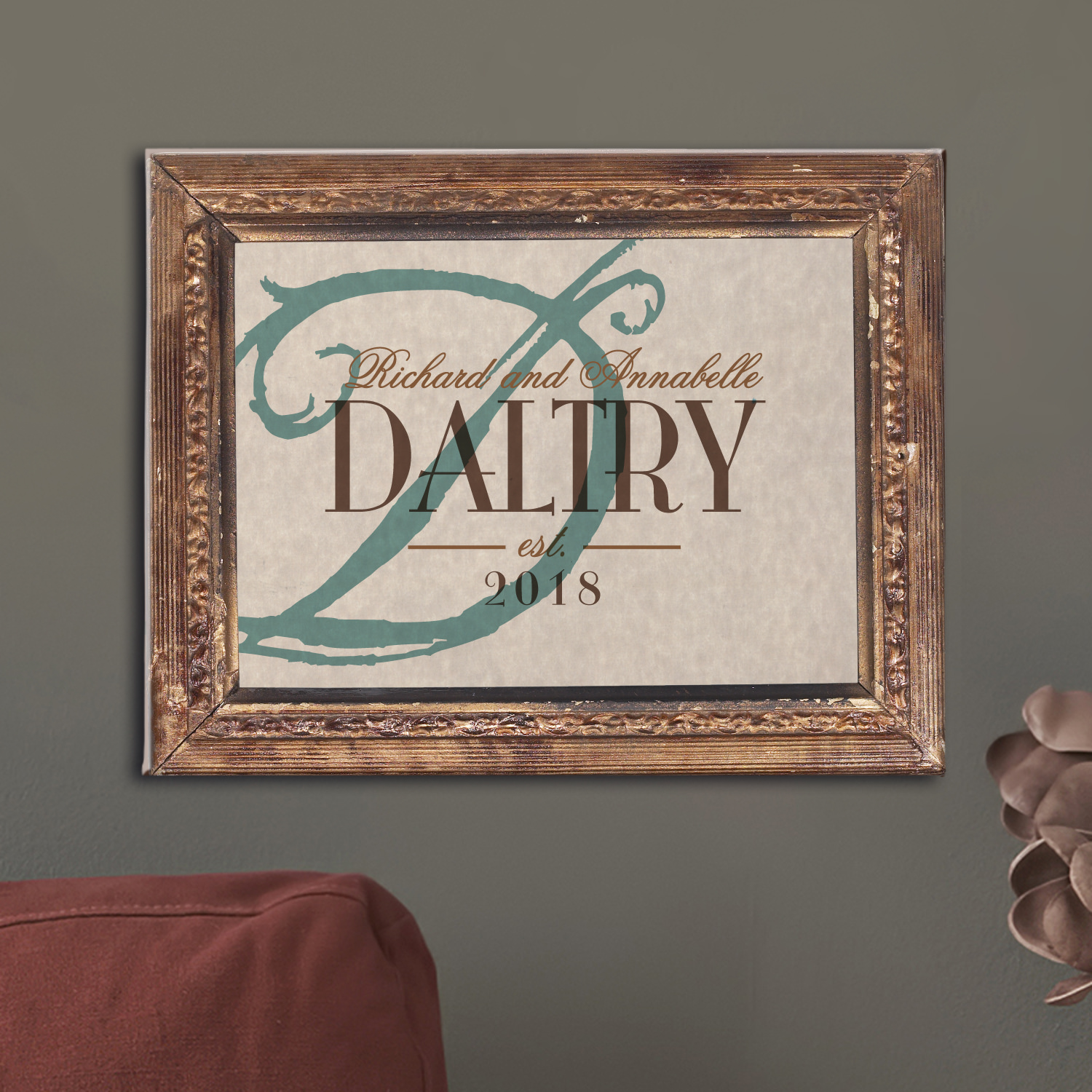 Personalized Vintage Name & Initial Canvas - Availabe in 2 Sizes