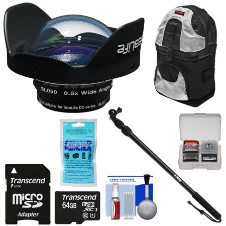Single Pole Rolling Backpack - SeaLife SL050 0.5x Wide Angle Dome Lens for DC2000 Camera with Adapter Ring + 64GB Card + Underwater Monopod Extension Pole + Backpack Case + Kit