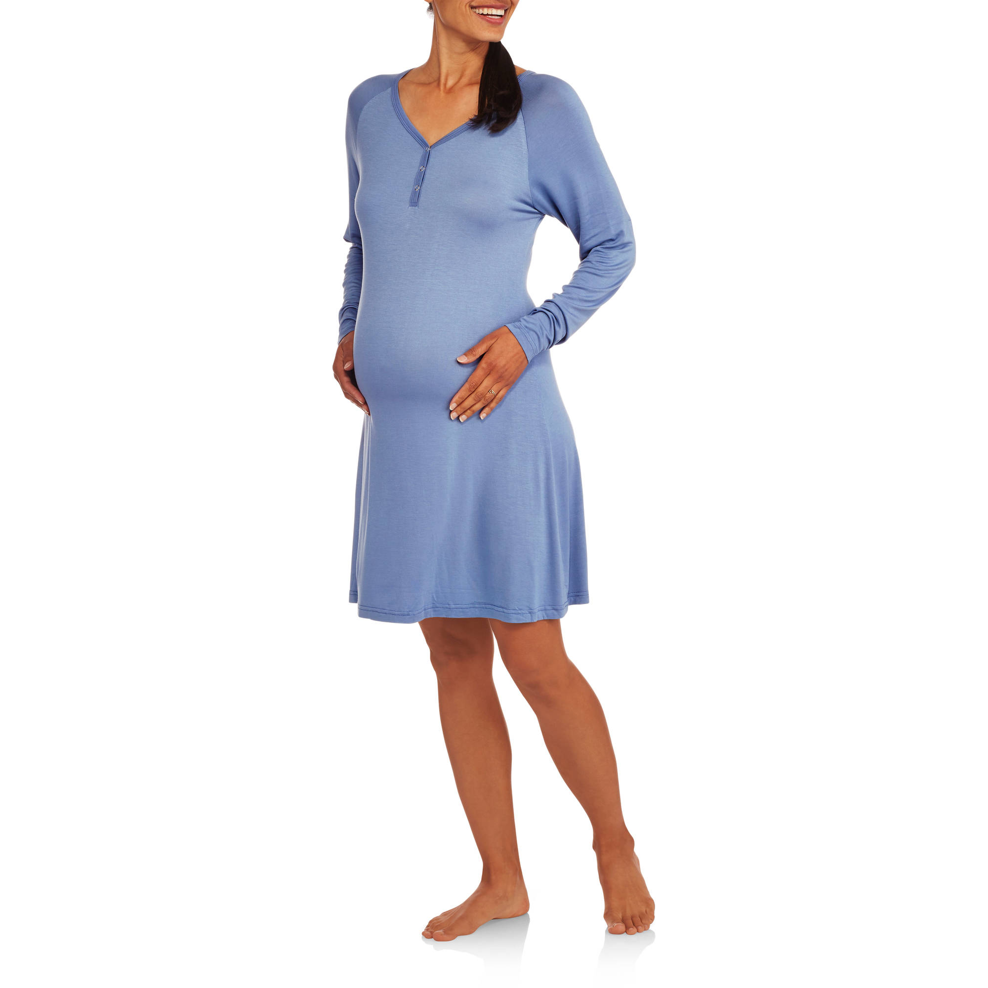 Maternity 3/4 Sleeve Henley Sleep Gown - Walmart.com