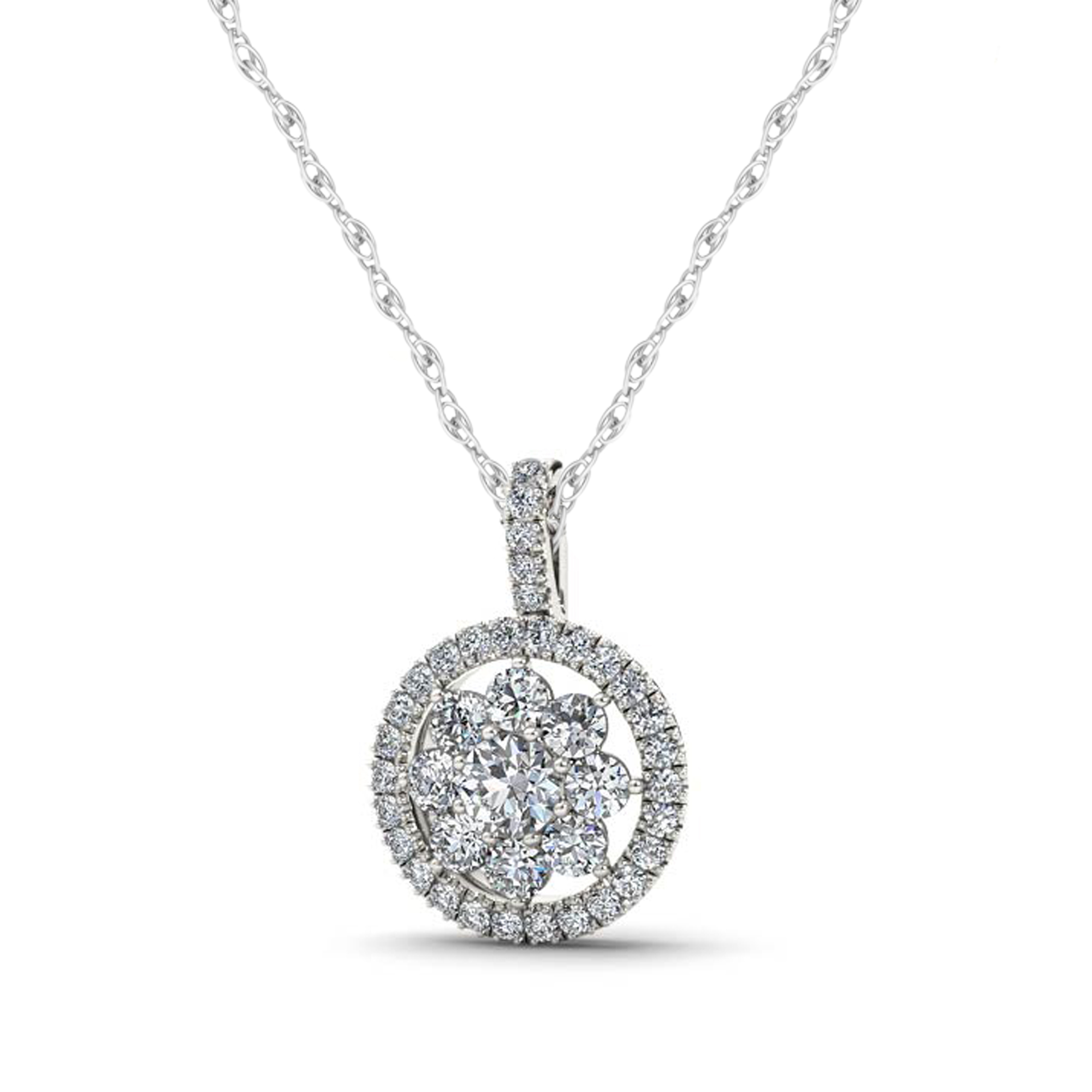Imperial 3 8ct TW Diamond 10k White Gold Flower Halo Necklace by Imperial Jewels