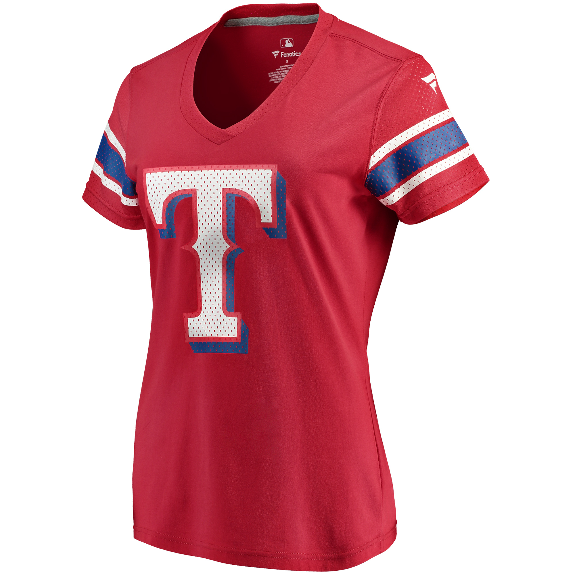 Women's Fanatics Branded Red Texas Rangers Iconic V-Neck T-Shirt