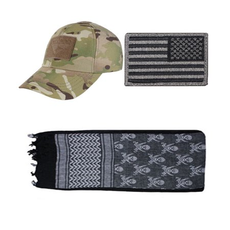 Cap MultiCam + USA PATCH FOLIAGE RIGHT + Skulls Black Shemagh