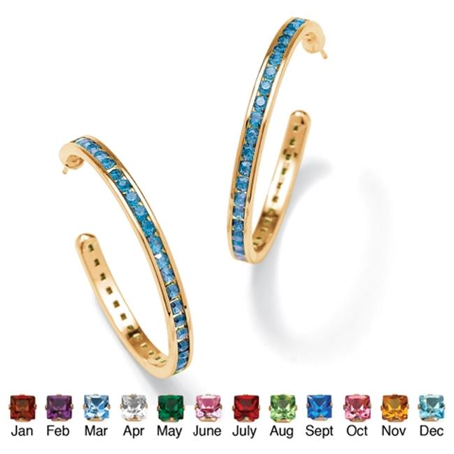 PalmBeach Jewelry 4751703 Round Simulated Birthstone 14k Yellow Gold-Plated Channel-Set Hoop Earrings March - Simulated