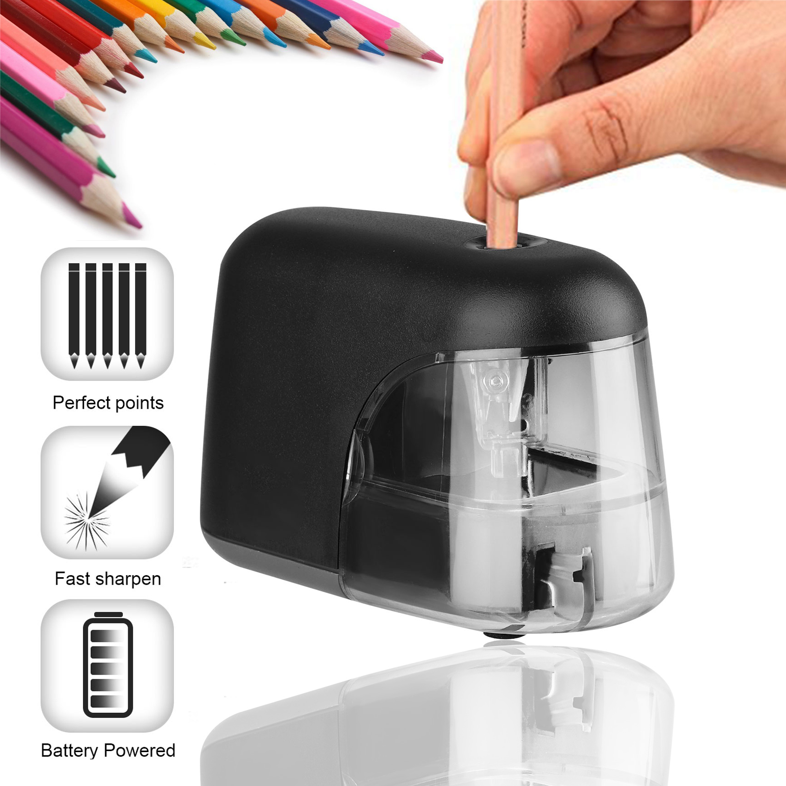 Electric Pencil Sharpener with Heavy Duty Helical Blade,Industrial Pencil Sharpener Plug in for Classroom,Office,Home,Super Fast,Suitable for NO 2//Colored Pencils,Powerful Motor