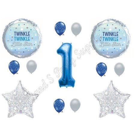 1ST BIRTHDAY TWINKLE TWINKLE LITTLE STAR BOY Balloons Decoration Supplies Nursery Rhymes, Twinkle Twinkle Little Star Boy 1st Birthdayparty balloons By Party Supply