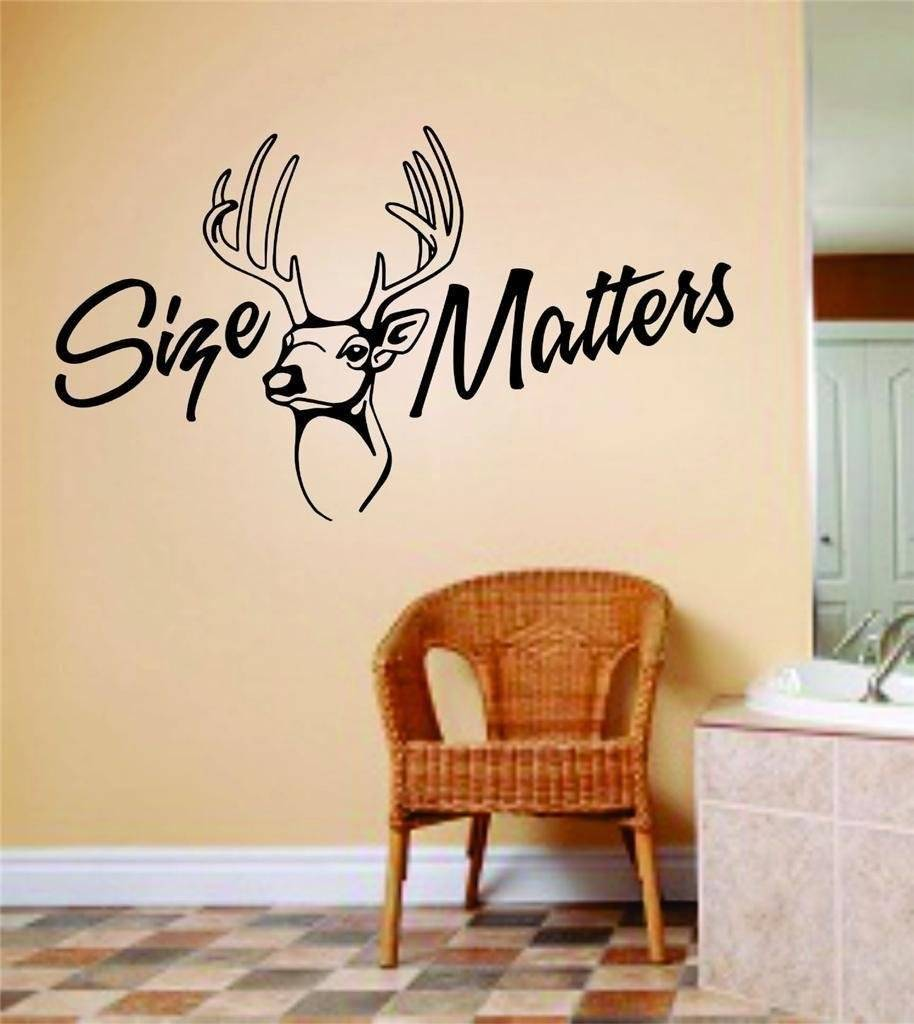 Size Matters Wall Letters With Animal Picture Art - Kids Room Bow Hunting - Deer / Moose / Buck Hunter Hobby Sports Wall Decal 8x20