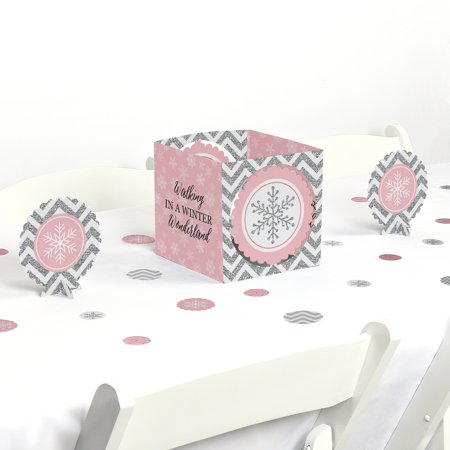 Pink Winter Wonderland - Holiday Snowflake Birthday Party or Baby Shower Centerpiece & Table Decoration Kit