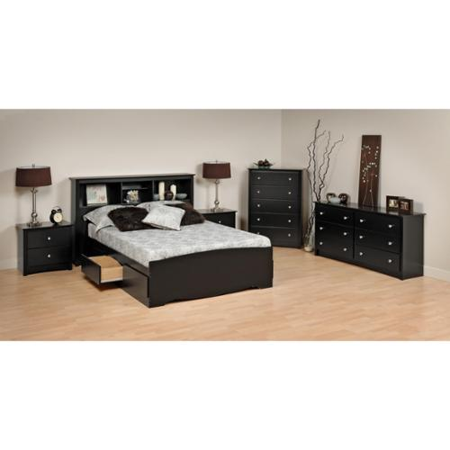 Sonoma Platform Storage Bedroom Set-Finish:Black,Set:6 Piece,Size:Full