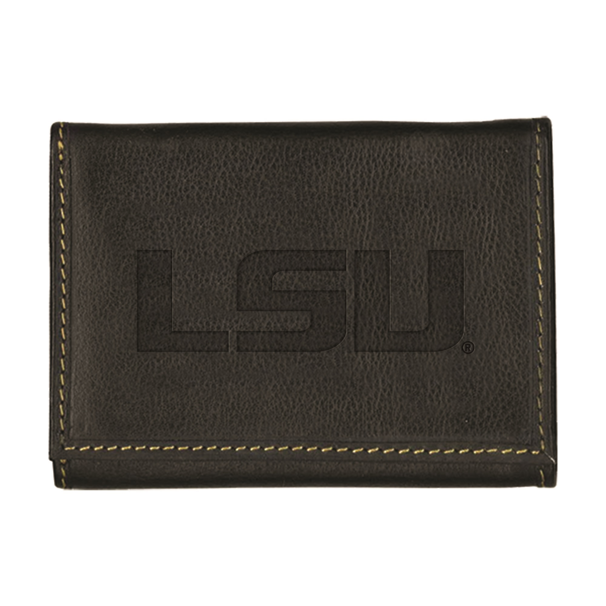 Louisiana State University Contrast Stitch Trifold Leather Wallet