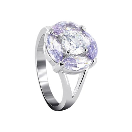 Gem Avenue 925 Sterling Silver Violet Cubic Zirconia Flower Shape Ring