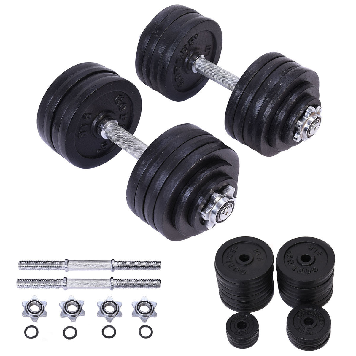 Costway 2 x 52.5 LB Weight Dumbbell Set Adjustable Cap Gym Barbell Plates Body Workout