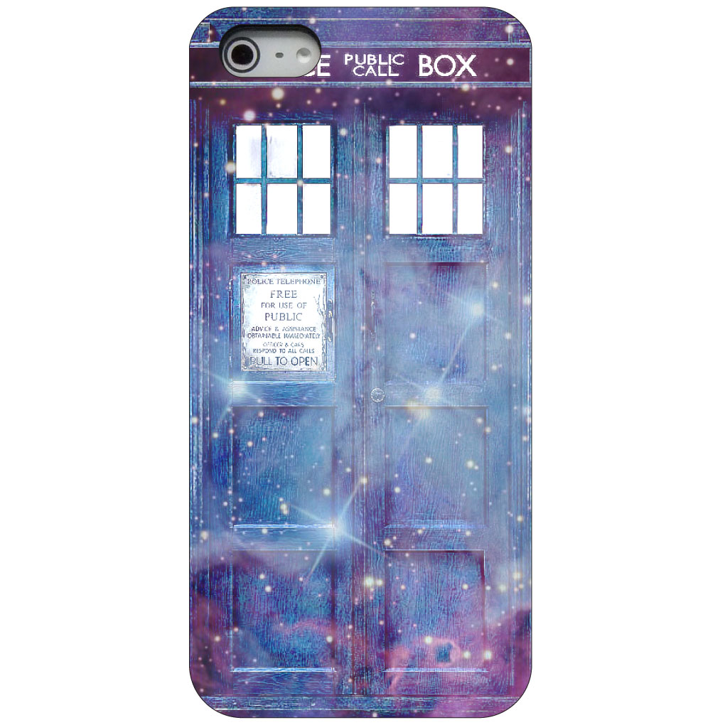 CUSTOM Black Hard Plastic Snap-On Case for Apple iPhone 5 / 5S / SE - Fading TARDIS Outer Space Stars