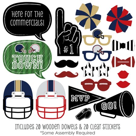 Super Football Bowl Party - Photo Booth Props Kit - 20 Count