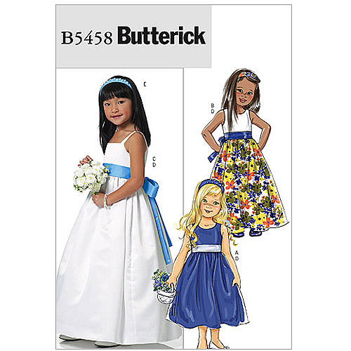 Butterick Pattern Children's and Girls' Dress, Sash and Headband, (6, 7, 8)