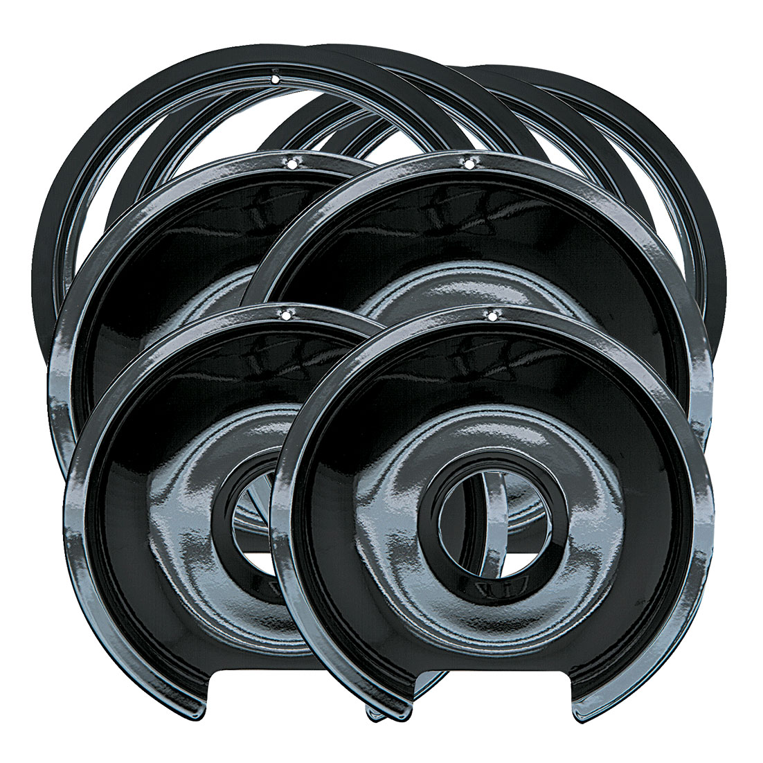 Range Kleen 8-Piece Drip Pan and Trim Ring, Style D fits Hinged Electric Ranges GE/Hotpoint/Kenmore, Black Porcelain