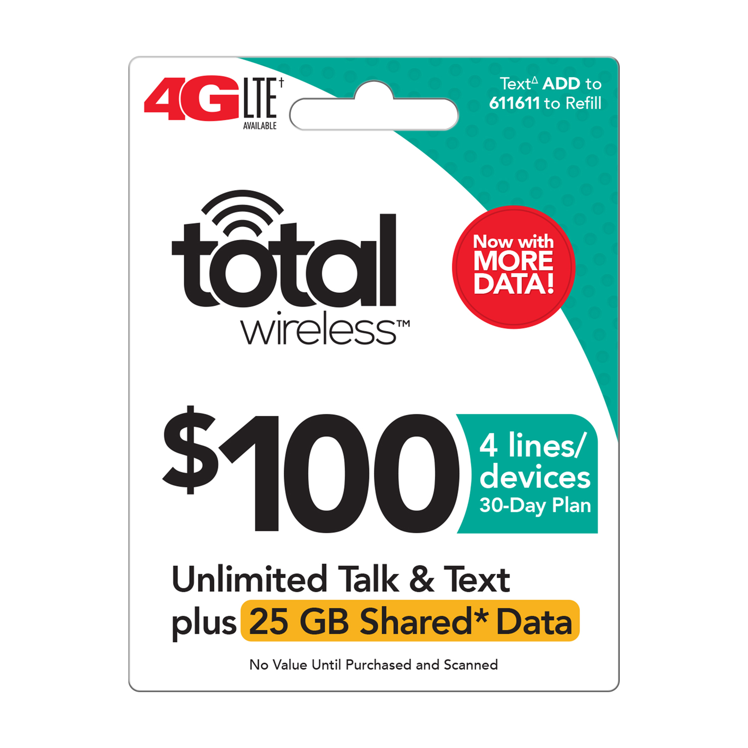 Total Wireless $100 Shared* Family Plan (Email Delivery)