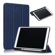 "Slim Tri-Fold Case for iPad 7th Generation 10.2"" 2019 /iPad 8th Generation 2020 Tablet, with Microfiber Inner Smart Cover Auto Wake/Sleep & Pencil Holder (Eiffel Tower), Darkblue"