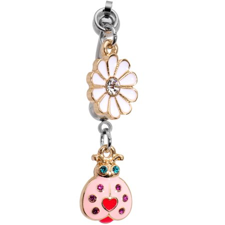 Body Candy Steel Clear Pink Accent Lovely Lady Bug Flower Reversible Dangle Double Mount Belly Ring (Ladybug Candy)