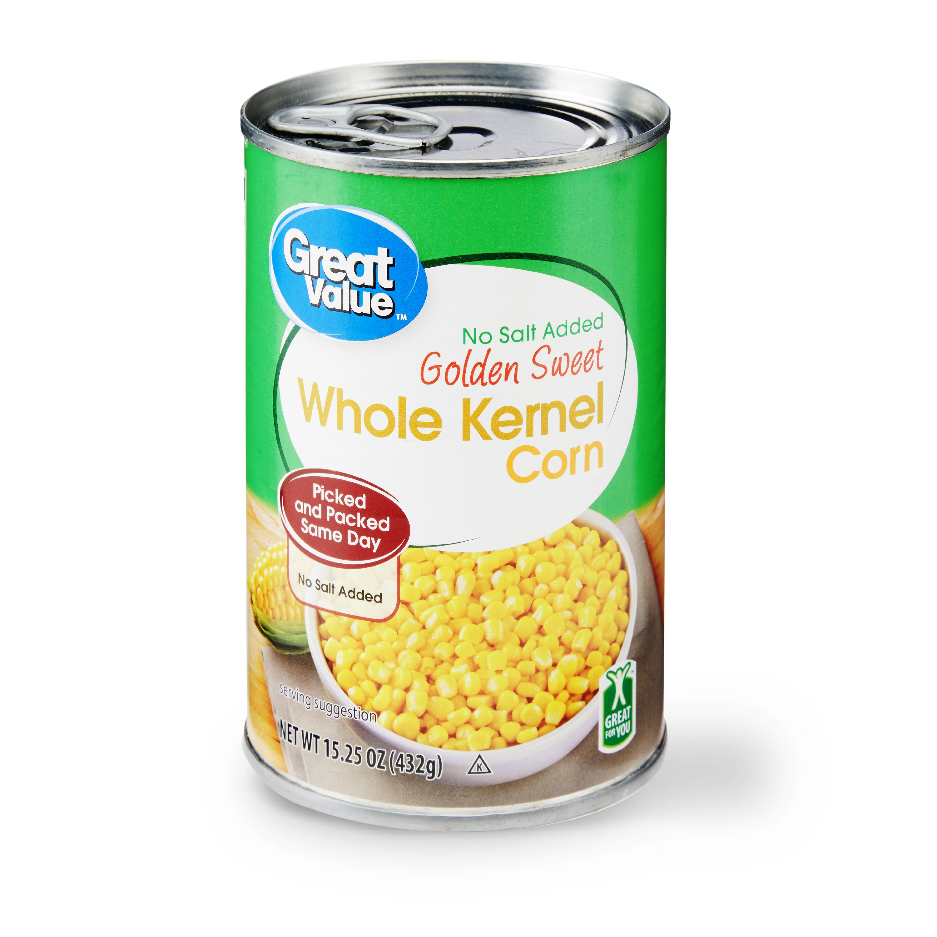 Great Value No Salt Added Golden Sweet Whole Kernel Corn, 15.25 oz