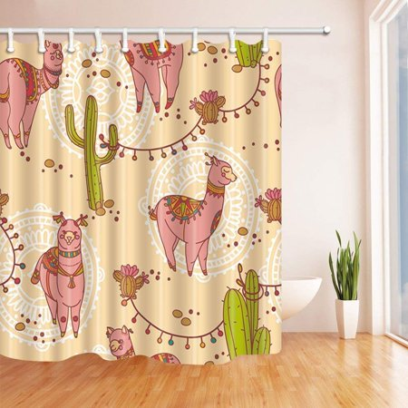 BOSDECO Kids Animals Boho Alpacas in Cactus Polyester Fabric Bath Curtain, Bathroom Shower Curtain 66x72 inches - image 1 de 1