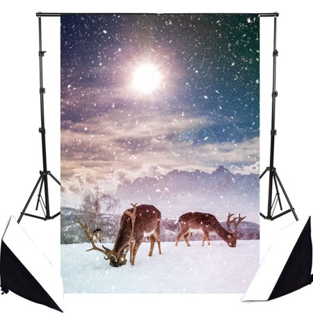 GreenDecor Polyster 7x5ft Merry Christmas Theme Backdrops, Photo Studio Photography Background Studio Prop Best for Children, Newborn, Baby Photograph Christmas